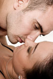Pretty adult caucasian couple in passionate embrac Stock Photos