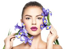 Woman with a healthy clean skin of the face. Makeup royalty free stock image