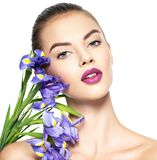 Woman with a healthy clean skin of the face. Makeup stock image