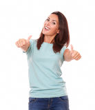 Pretty adult lady with thumb up Stock Photography