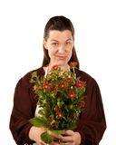 Pretty adult woman with flowers Royalty Free Stock Photo