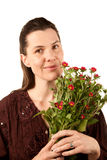 Pretty Adult Woman with Flowers Stock Images