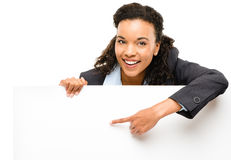 Pretty African American Businesswoman holding billboard isolated. Pretty African American Business woman holding billboard royalty free stock images