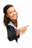 Pretty African American Businesswoman holding billboard isolated royalty free stock images