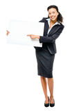 Pretty African American Businesswoman holding billboard isolated Royalty Free Stock Photography