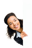 Pretty African American Businesswoman holding billboard isolated. Pretty African American Business woman holding billboard stock image