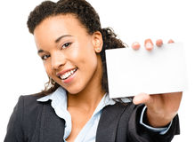 Pretty African American Businesswoman holding placard isolated  Royalty Free Stock Photo