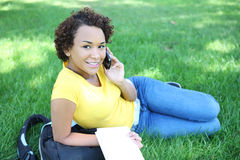 Pretty African American On Cell Phone Stock Photo