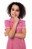 Pretty african american gesturing silence Royalty Free Stock Photos