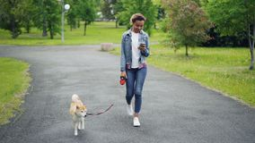Pretty African American girl in denim jacket and jeans is walking her purebred dog in city park and using smartphone. Going along path with green lawns and stock video