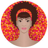 Pretty African American girl.  Vector illustration Stock Image