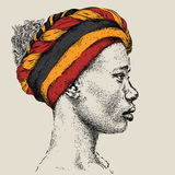 Pretty African American Girl in a turban. Beautiful black woman. Profile view. Hand draw vector illustration. Pretty African American Girl in a turban. Beautiful Royalty Free Stock Photos