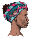 Pretty African American Girl in turban with Paisley. Beautiful black woman. Profile view. Hand draw vector illustration. Pretty African American Girl in turban Stock Photos