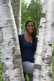Pretty African American Teen Among Birch Trees Royalty Free Stock Photo