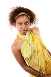 Pretty African-American Woman. Pretty African American Woman on White Background in Green Wrap Dress stock photos
