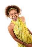 Pretty African-American Woman. In Green Wrap Dress on White Background Laughing royalty free stock photos