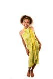 Pretty African-American Woman. In Green Wrap Dress on White Background stock images