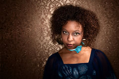 Pretty African American Woman in Blue Dress Royalty Free Stock Photo