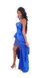 Pretty African American woman in blue dress. Stock Images