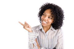 A pretty African American woman pointing Royalty Free Stock Photo
