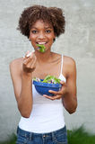 Pretty African American woman with salad Royalty Free Stock Photo