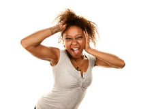 Pretty African-American Woman Screaming Playfully. Pretty African-American Woman on White Screaming Playfully Royalty Free Stock Photo
