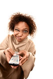 Pretty African-American Woman Wearing Blanket Royalty Free Stock Photos