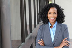 A pretty African american woman at work royalty free stock photos