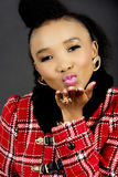 Pretty African Fashion Model Blowing a Kiss Royalty Free Stock Photos