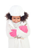 Pretty african girl with gesture of being cold and warm clothing Stock Image