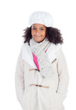 Pretty african girl with winter clothes Stock Photo