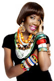 Pretty African Model, Dressed in Casual Modern Traditional Clothes Stock Photo