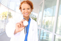 Pretty African Nurse at Hospital Stock Photo