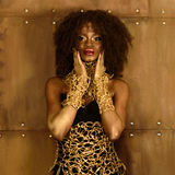 Pretty african woman with black curly hair and gold makeup, accessories,looking at camera holding hands near face on the bronze ba Royalty Free Stock Photography