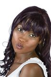 Pretty african woman kiss Closeup Stock Photography