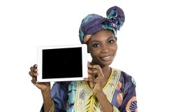 Pretty african woman with tablet PC, free copy space. Studio Shot, Cameroon Stock Image
