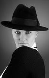 Pretty agent. Photo of the woman in business costume of secret agent Royalty Free Stock Images
