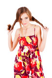 Pretty alluring young girl in dress Royalty Free Stock Image