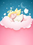 Pretty angel baby sleeping at cloud. Pretty angel baby with wings sleeping at pink fluffy cloud under nighttime sky Moon and stars cartoon vector illustration Stock Photography