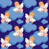 Pretty angel pattern. Seamless pattern with the image of a pretty little angel. Vector background Stock Photos