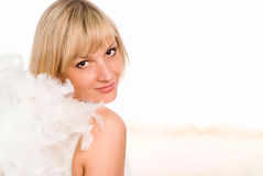 Pretty angel on white Royalty Free Stock Photography