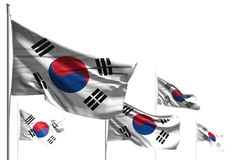 Pretty five flags of Republic of Korea South Korea are wave isolated on white - picture with selective focus - any feast flag 3d. Pretty any celebration flag 3d vector illustration