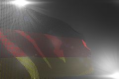 Pretty any holiday flag 3d illustration - digital image of Germany flag made of dots waving on grey with free space for content. Pretty hi-tech photo of Germany royalty free illustration