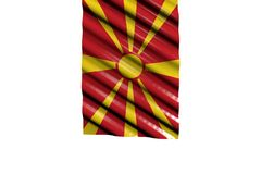 Pretty any holiday flag 3d illustration - glossy flag of Macedonia with big folds hangs from top isolated on white. Pretty shiny flag of Macedonia with big folds royalty free illustration