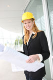 Pretty Architect on Construction Site Royalty Free Stock Photos
