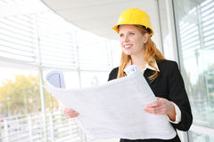 Pretty Architect on Construction Site Royalty Free Stock Images