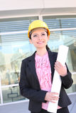 Pretty Architect Woman with Blueprints Royalty Free Stock Images