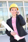 Pretty Architect Woman on Phone Royalty Free Stock Photo