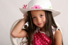 Pretty as a picture. Young girl in spring or summer dress and hat Royalty Free Stock Photos
