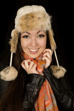Pretty Asian American girl wearing winter clothes smiling Royalty Free Stock Photo